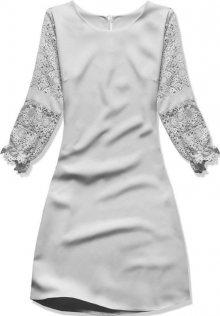 Šedé šaty s krajkovými rukávy