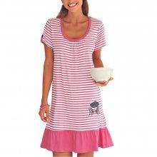 Blancheporte Noční košile v námořnickém stylu malinová 34/36