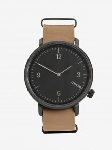 Černé unisex hodinky s béžovým koženým páskem Komono Magnnus