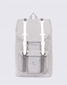 Herschel Supply Little America Mid-Volume Light Grey Crosshatch/White Rubber/Blueprint stripe