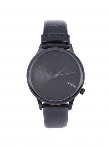 Dámské hodinky v černé barvě s koženým černým páskem Komono Estelle Deco