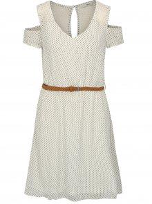 Hnědo-bílé vzorované šaty s páskem a průstřihy na ramenou ONLY Zoe