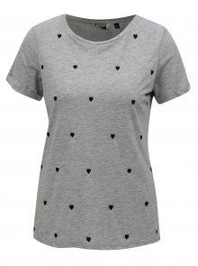 Šedé žíhané tričko s motivem srdíček Dorothy Perkins