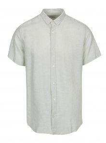 Světle zelená lněná slim košile s krátkým rukávem ONLY & SONS Caiden