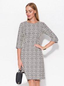 Jelonek Dámské šaty DRESS 28506 ECRU BLACK