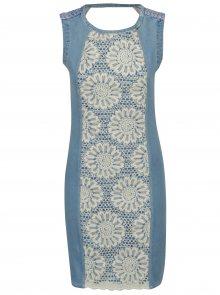 Světle modré džínové šaty s květovanou výšivkou Desigual Agatho