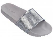 Zaxy šedo-stříbrné pantofle Snap Glitter Slide Fem Glitter Silver