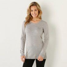 Blancheporte Jednobarevný pulovr s kulatým výstřihem šedý melír/režná 34/36