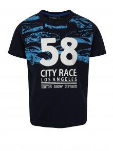 Tmavě modré klučičí tričko s motivem aut Mix´n Match