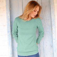 Blancheporte Jednobarevný pulovr s knoflíky v ramenou světle zelená 34/36