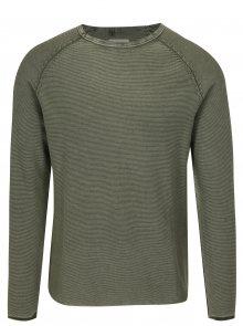 Zelený žebrovaný slim fit svetr Blend