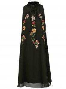 Černé šaty se stojáčkem a květovanou výšivkou Desigual Angy