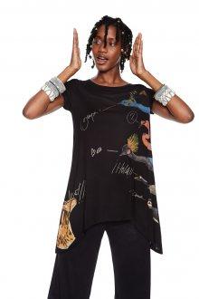 Desigual černé asymetrické tričko Artemis