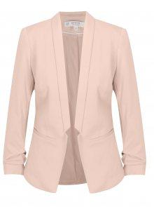 Světle růžové sako s 3/4 rukávem Miss Selfridge