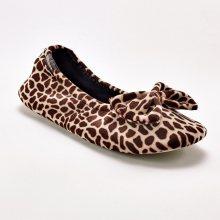 Blancheporte Sametové baleríny Isotoner s potiskem žirafy černá 35/36