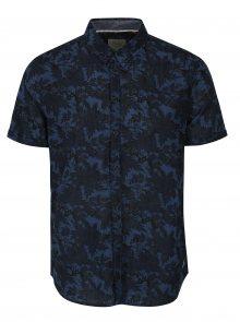 Tmavě modrá květovaná slim fit košile Blend
