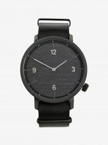 Černé unisex hodinky s koženým páskem  Komono Magnnus