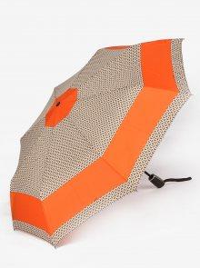 Oranžovo-béžový vzorovaný skládací vystřelovací deštník Doppler
