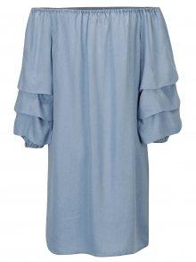 Modré šaty s odhalenými rameny ONLY Sira