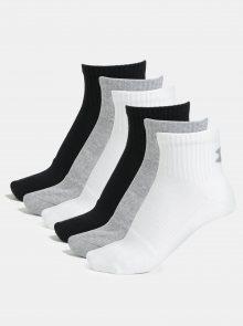 Sada šesti párů unisex ponožek v černé, bílé a šedé barvě Under Armour Quarter