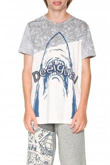 Desigual bílo-šedé chlapecké tričko Daniel