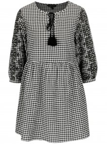 Krémovo-černé vzorované minišaty s výšivkou Dorothy Perkins