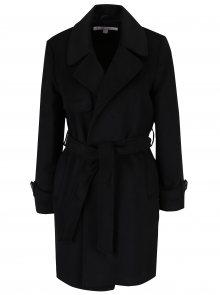 Černý kabát se zavazováním v pase Miss Selfridge Petites