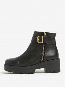 Černé kožené kotníkové boty na platformě OJJU