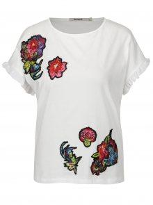 Bílé tričko s krátkým rukávem a volány Desigual Candice