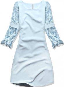 Baby blue šaty s krajkovými rukávy
