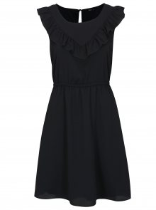 Tmavě modré šaty s volánem ONLY Caroline