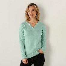 Blancheporte Jednobarevný pulovr s tuniským výstřihem světle zelená 34/36
