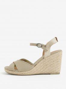Béžové dámské sandály na klínku Pepe Jeans Shark Basic