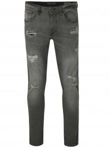 Šedé slim fit džíny s potrhaným efektem Blend