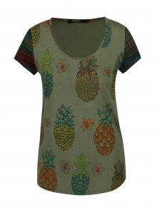 Khaki tričko s potiskem ananasů Desigual Camille
