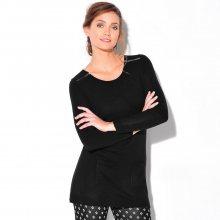 Blancheporte Tunikový pulovr se zipy černá 38/40