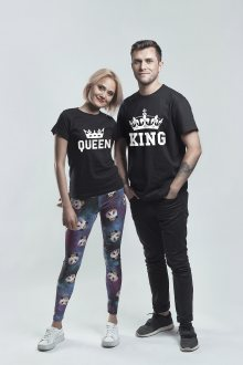 Set triček Queen and King Crown Black [KQ]