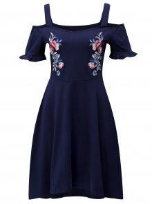 Tmavě modré šaty s odhalenými rameny Dorothy Perkins