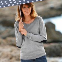 Blancheporte Jednobarevný pulovr s kulatým výstřihem šedý melír/námořnická modrá 52