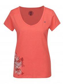 Korálové dámské tričko s potiskem LOAP Abigale
