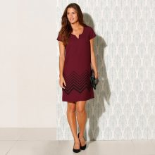Blancheporte Šaty s krátkými rukávy švestková/černá 52