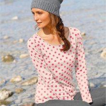 Blancheporte Puntíkované tričko s dlouhými rukávy režná/korálová 42/44
