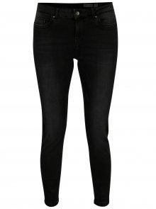 Černé slim fit zkrácené džíny s vyšisovaným efektem VERO MODA Seven