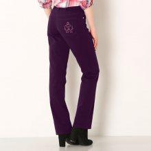Blancheporte Džínové kalhoty s výšivkou, menší postava černý rybíz 36