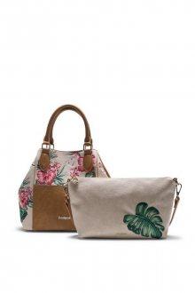 Desigual béžová kabelka Hannah Florida s barevnými květy