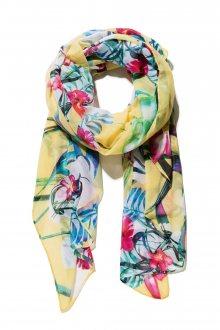 Desigual žlutý šátek Gardenette s květinovými motivy