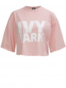 Světle růžový oversize crop top s potiskem Ivy Park