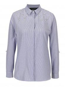 Bílo-modrá pruhovaná košile s korálky Dorothy Perkins