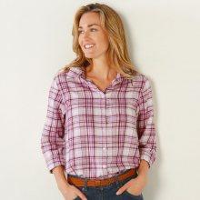 Blancheporte Flanelová kostkovaná košile s dlouhými rukávy růžová 34/36