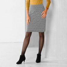 Blancheporte Rovná sukně s grafickým vzorem černá/bílá 34/36
